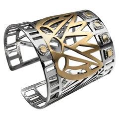 18 Karat Gold, Sterling Silver and Pave-Set Diamond Art Deco Lotus Cuff Bangle