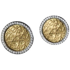 18 Karat Gold Sterling Silver and Pave-Set Diamond Seal of Solomon Stud Earrings
