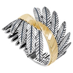 "18 Karat Gold, Sterling Silver and Pave-Set Sapphire ""Feathers"" Wings Cuff"