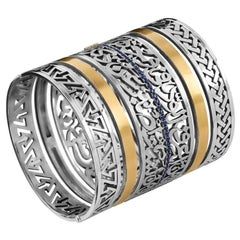"""18 Karat Gold, Sterling Silver and Sapphire Calligraphy """"Love"""" Stacking Cuff"""