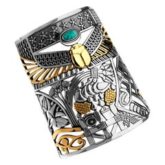 18 Karat Gold, Sterling Silver and Turquoise Pharaonic Tales Masterpiece Cuff