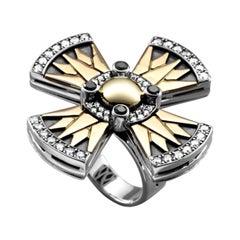 18 Karat Gold, Sterling Silver, Black Diamond and Diamond Coptic Cross Ring