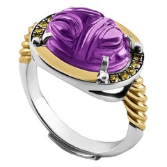 18 Karat Gold, Sterling Silver, Carved Amethyst and Brown Diamond Scarab Ring