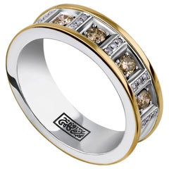 """18 Karat Gold, Sterling Silver, Champagne Diamond/Diamond """"We are One"""" Band Ring"""
