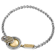 18 Karat Gold, Sterling Silver, Diamond and Pearl Coin and Hand Bracelet