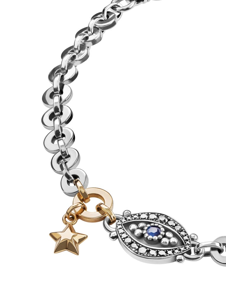 Contemporary 18 Karat Gold, Sterling Silver, Diamond and Sapphire Eye and Star Bracelet For Sale