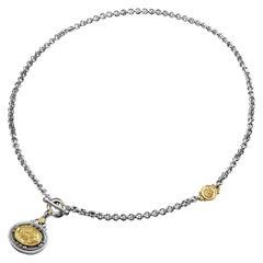 "18 Karat Gold, Sterling Silver, Diamond & Garnet T-Lock ""Love"" Coin Necklace"