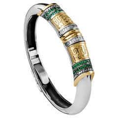 18 Karat Gold, Sterling Silver, Emerald and Diamond Calligraphy Stacking Bangle