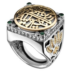 18 Karat Gold, Sterling Silver, Emerald and Diamond Classic Calligraphy Ring