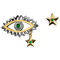 18 Karat Gold, Sterling Silver, Emerald & Diamond Mismatched Eye & Star Earrings