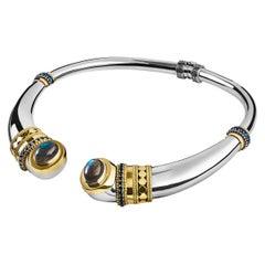 18 Karat Gold, Sterling Silver, Labradorite and Sapphire Gypsy Tribal Collar