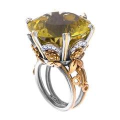 18 Karat Gold, Sterling Silver, Lemon Topaz and Diamond Victorian Cocktail Ring