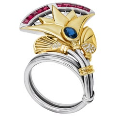 18 Karat Gold, Sterling Silver, Oval Sapphire, Ruby and Diamond Lotus Ring