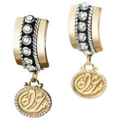 """18 Karat Gold, Sterling Silver, Pearl and Diamond """"Happiness"""" Drop Earrings"""