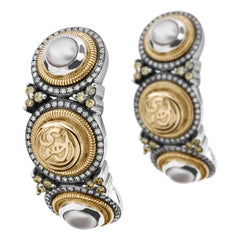 18 Karat Gold, Sterling Silver, Pearl and Diamond Tribal Calligraphy Earrings