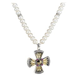 18 Karat Gold, Sterling Silver, Pearl, Ruby and Diamond Coptic Cross Necklace