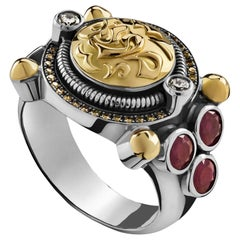 18 Karat Gold, Sterling Silver, Ruby and Diamond Gypsy Classic Calligraphy Ring