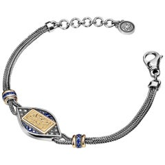 18 Karat Gold Sterling Silver Sapphire and Diamond Art Deco Calligraphy Bracelet