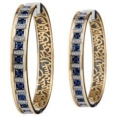 18 Karat Gold, Sterling Silver, Sapphire and Diamond Calligraphy Hoop Earrings