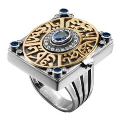 18 Karat Gold, Sterling Silver, Sapphire and Diamond Calligraphy Opening Ring
