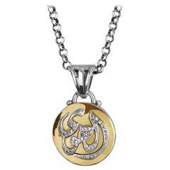 18 Karat Gold, Sterling Silver Sapphire and Diamond Calligraphy Pendant Necklace