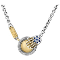 18 Karat Gold, Sterling Silver, Sapphire and Diamond Coin and Hand Necklace