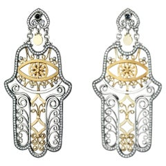 18 Karat Gold, Sterling Silver, Sapphire and Diamond Hand of Fatima Earrings