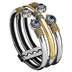 18 Karat Gold, Sterling Silver, Sapphire, Diamond and Pearl Stack Effect Cuff