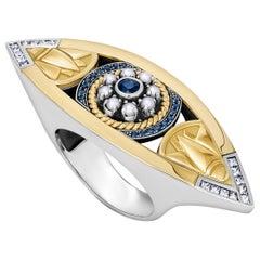 18 Karat Gold, Sterling Silver, Sapphire, Pearl and Diamond Lotus Eye Tut Ring