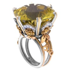 18 Karat Gold, Sterling Silver, Smokey Topaz and Diamond Victorian Cocktail Ring