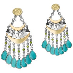 18 Karat Gold, Sterling Silver, Turquoise and Chrome Swaying Falahy Earrings