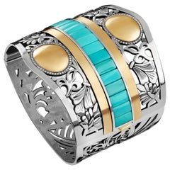18 Karat Gold, Sterling Silver, Turquoise and Diamond Gypsy Floral Cuff Bangle