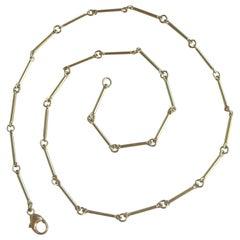 18 Karat Gold Stick Chain Necklace