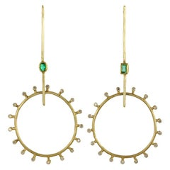 18 Karat Gold Sticks and Stones Diamond and Zambian Emerald Earrings