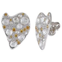 18 Karat Gold Stud Earrings with Pavé Set Yellow and White Diamonds
