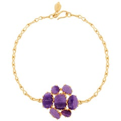 18 Karat Gold Sugilite Purple Haze Dot Set Cluster Bracelet