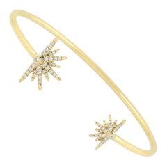 18 Karat Gold Sun Diamond Bangle Bracelet