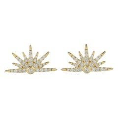 18 Karat Gold Sun Diamond Stud Earrings
