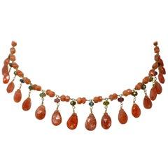 18 Karat Gold Sunstone and Tourmaline Drop Bead Necklace