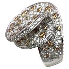 18 Karat Gold Swirl Ring with 3.90 Carat Fancy Brown & 3.20 Carat White Diamonds