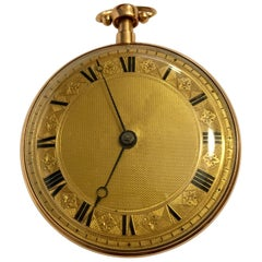 19th Century 18 Karat Gold Swiss Verge Minute Repeater Pocket Watch