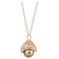 18 Karat Gold Tahitian Pearl Mermaid Tail Necklace with Andalusites and Diamonds