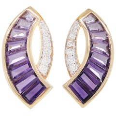 18 Karat Gold Taper Baguette Channel Set Amethyst Diamond Contemporary Ear-Clips