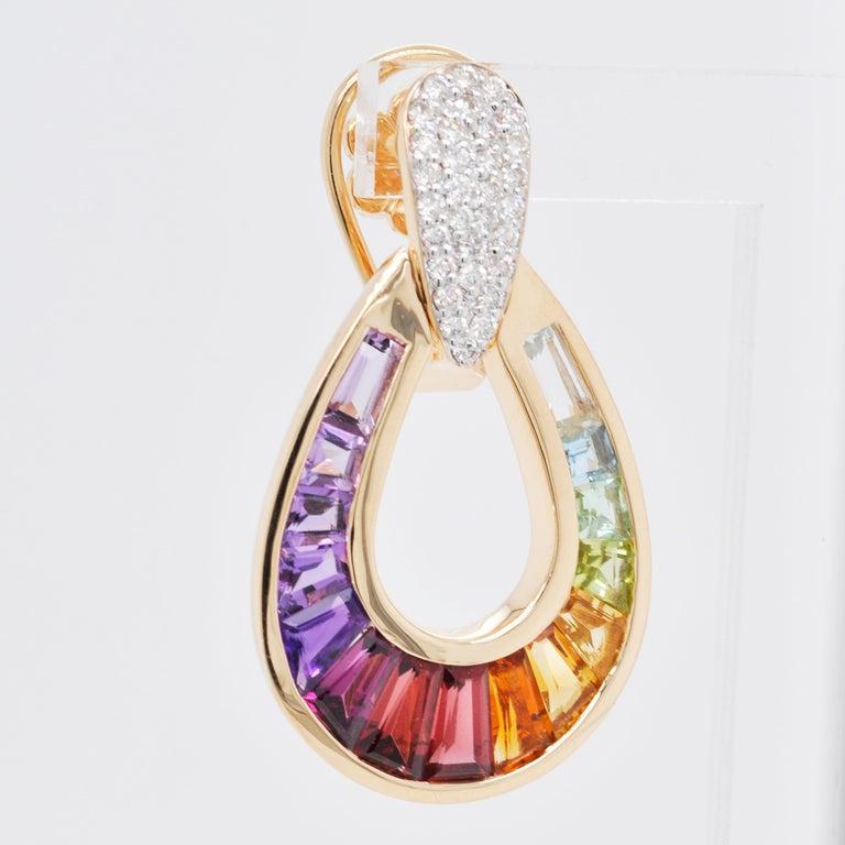 18 Karat Gold Taper Baguette Multi-Color Rainbow Diamond Dangling Drop Earrings For Sale 4