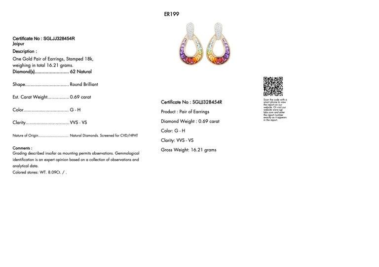 18 Karat Gold Taper Baguette Multi-Color Rainbow Diamond Dangling Drop Earrings For Sale 7