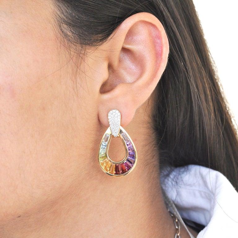 Art Deco 18 Karat Gold Taper Baguette Multi-Color Rainbow Diamond Dangling Drop Earrings For Sale