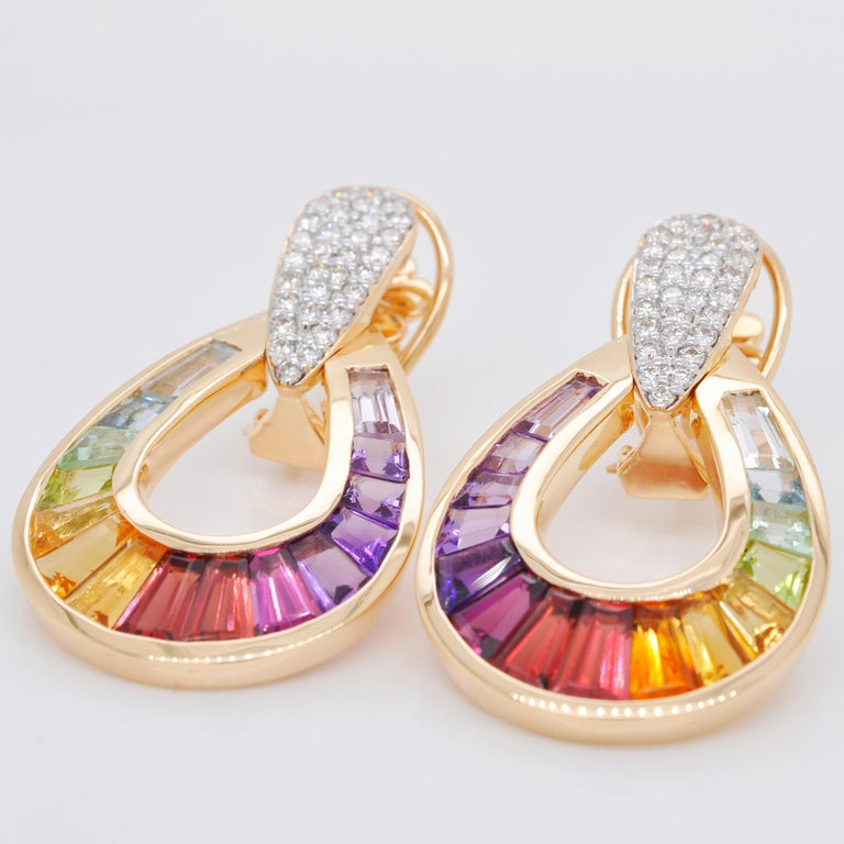 Tapered Baguette 18 Karat Gold Taper Baguette Multi-Color Rainbow Diamond Dangling Drop Earrings For Sale