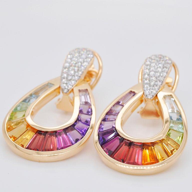 Women's 18 Karat Gold Taper Baguette Multi-Color Rainbow Diamond Dangling Drop Earrings For Sale