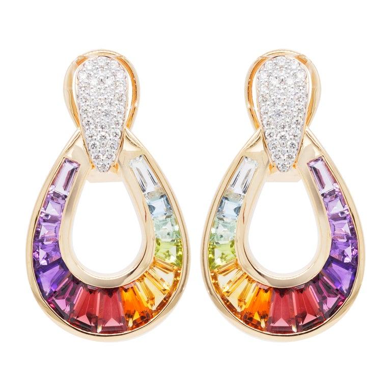 18 Karat Gold Taper Baguette Multi-Color Rainbow Diamond Dangling Drop Earrings For Sale 1