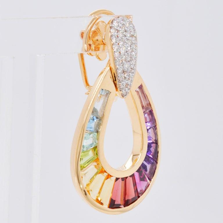 18 Karat Gold Taper Baguette Multi-Color Rainbow Diamond Dangling Drop Earrings For Sale 3